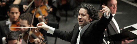 photo of Gustavo Dudamel conducting Mahler Symphony No. 8