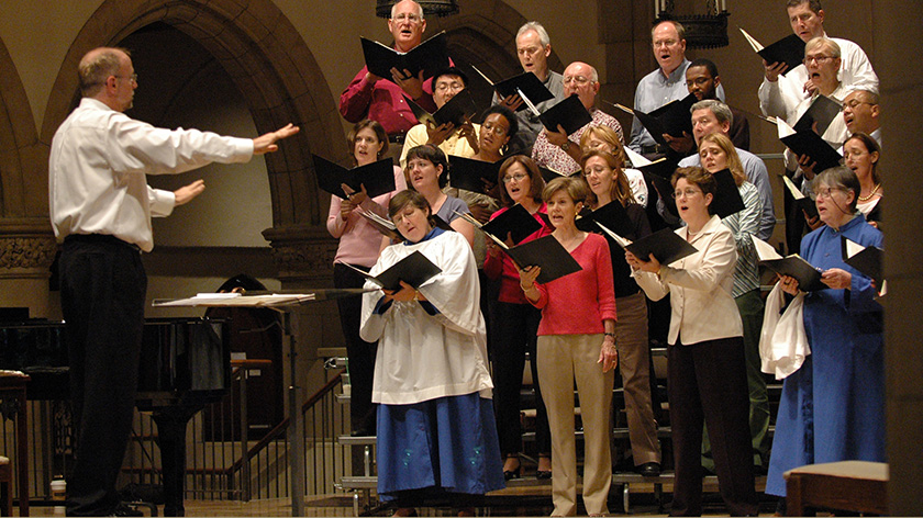 photo of Coventry Choir rehearsing for Spring Concert 2004