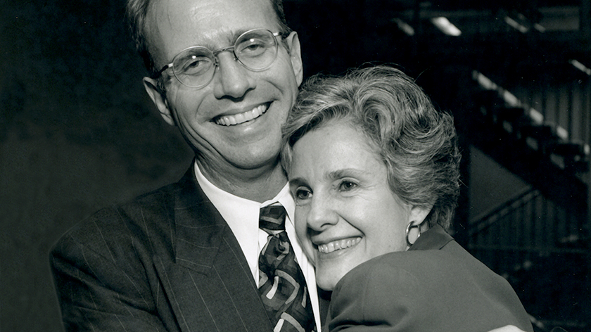 photo of James With Anne Peterson at George Regas' final service
