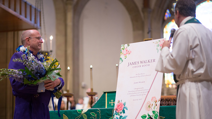 photo of Vestry resolution names the James Walker Choir Room